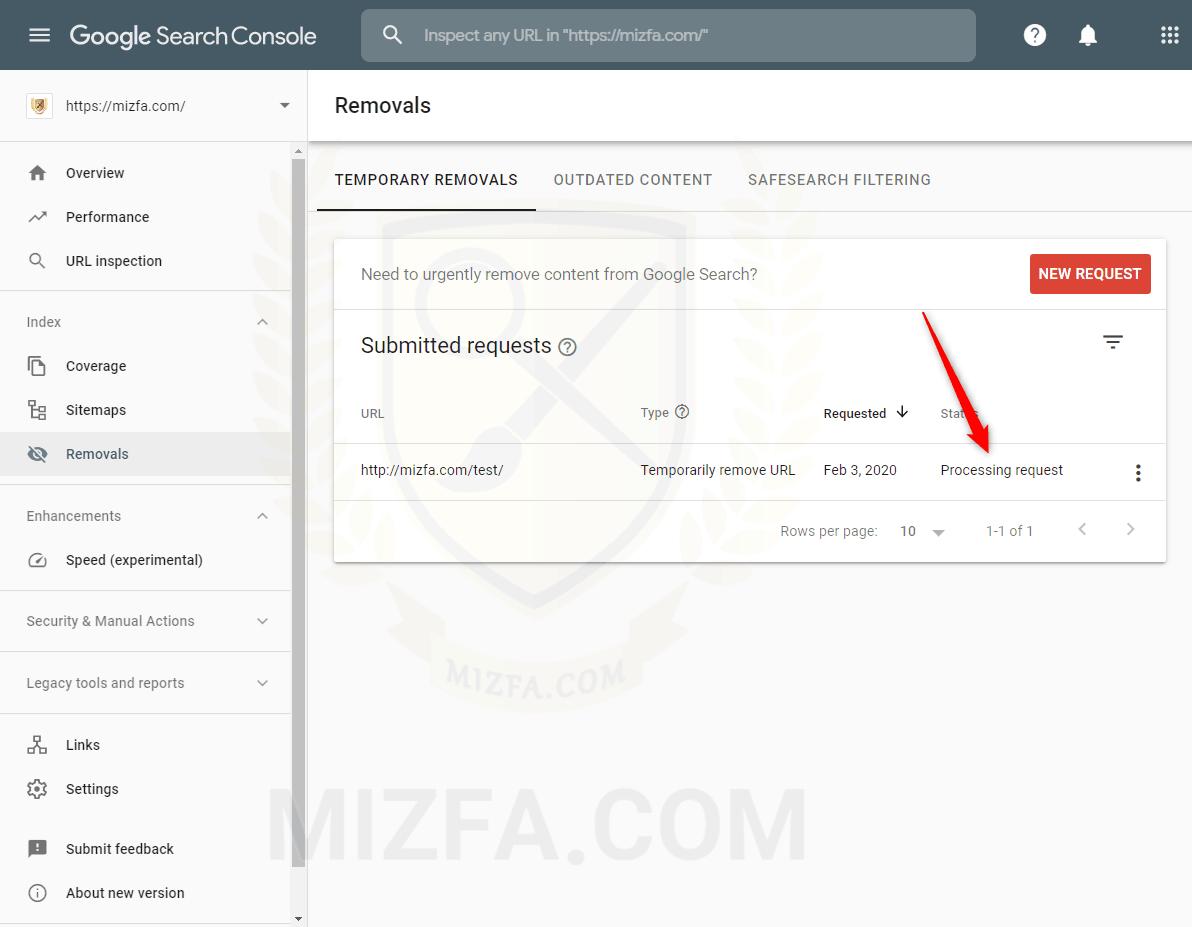 بخش Processing request در سرچ کنسول