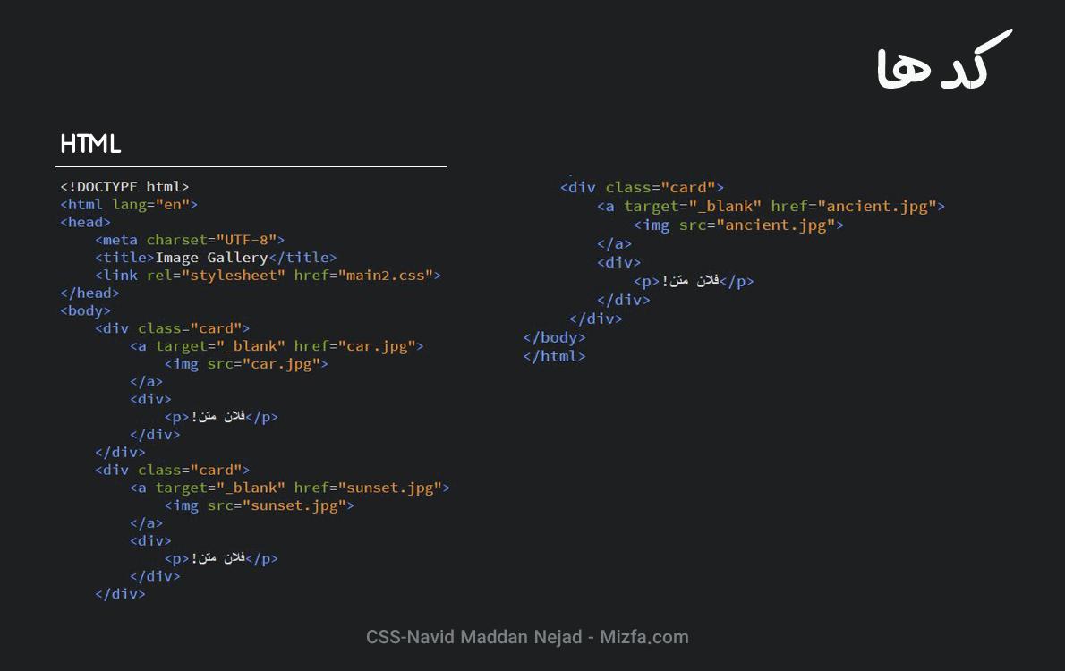 کد HTML گالری