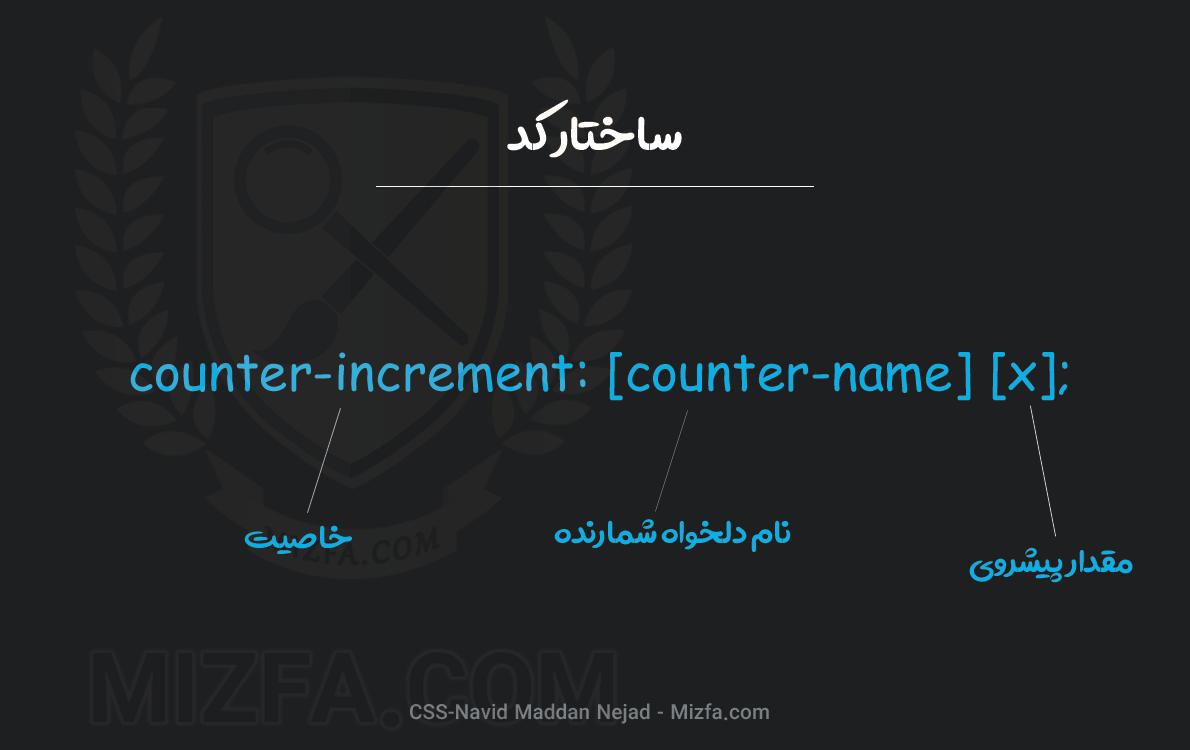 نحوه نوشتار خاصیت counter-increment