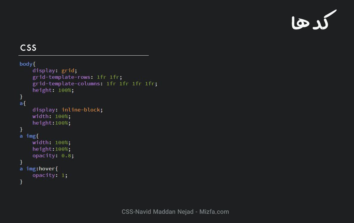 کد CSS گالری تصاویر هنری