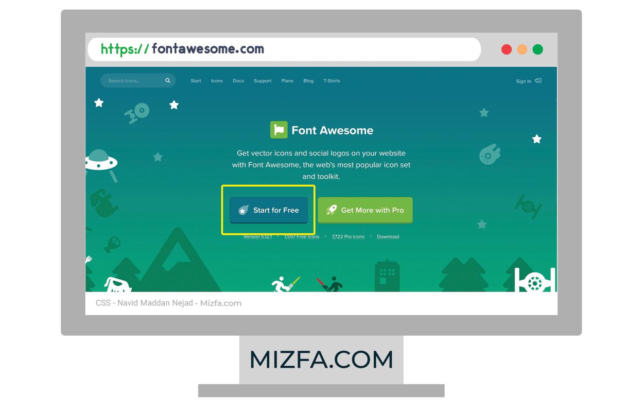 صفحه اول وب سایت fontawesome