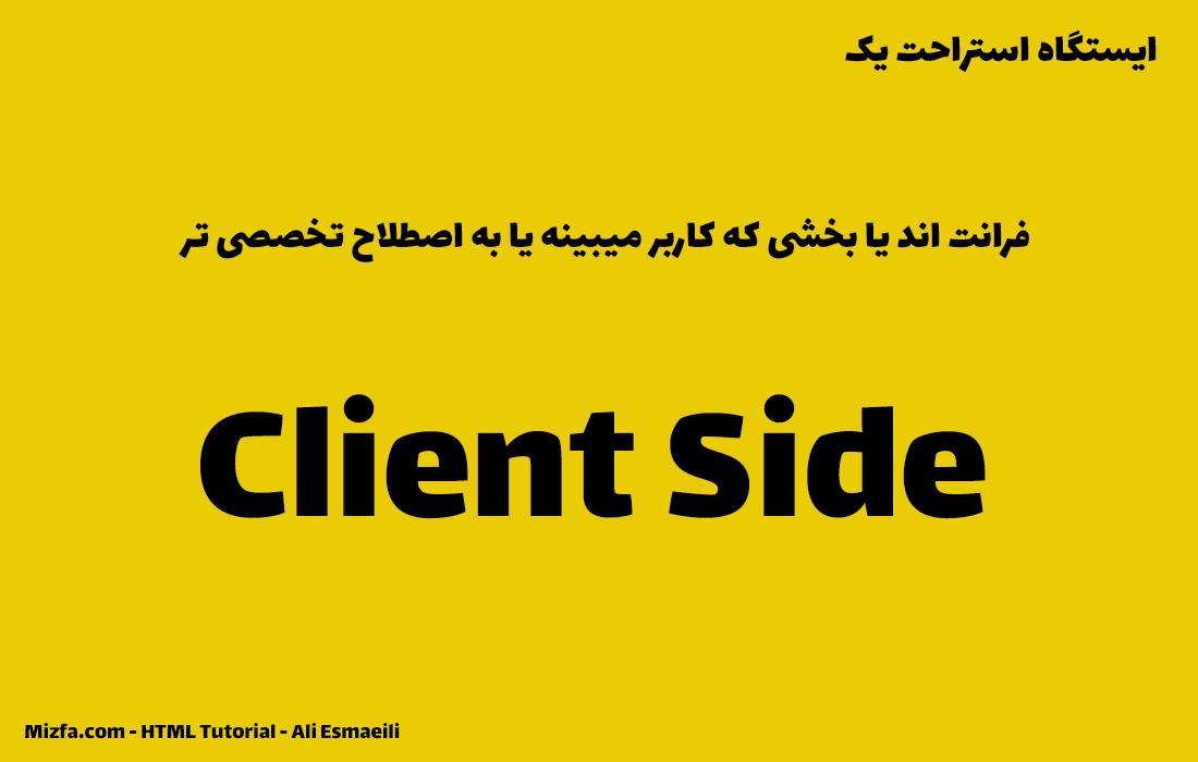 بخش دیداری قضیه یا فرانت اند یا Client Side