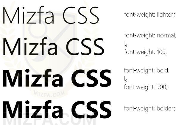 منظور از خاصیت font-weight چیست؟