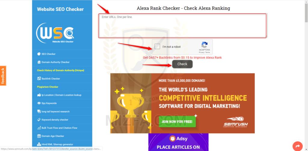 مشاهده رتبه الکسا سایت با websiteseochecker