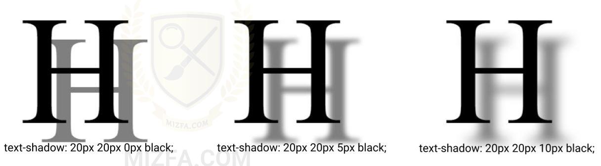 شفافیت سایه در text-shadow