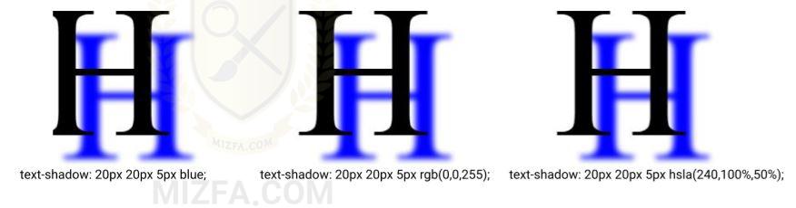 رنگ سایه در text-shadow