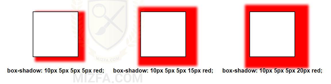 گستردگی سایه در box-shadow