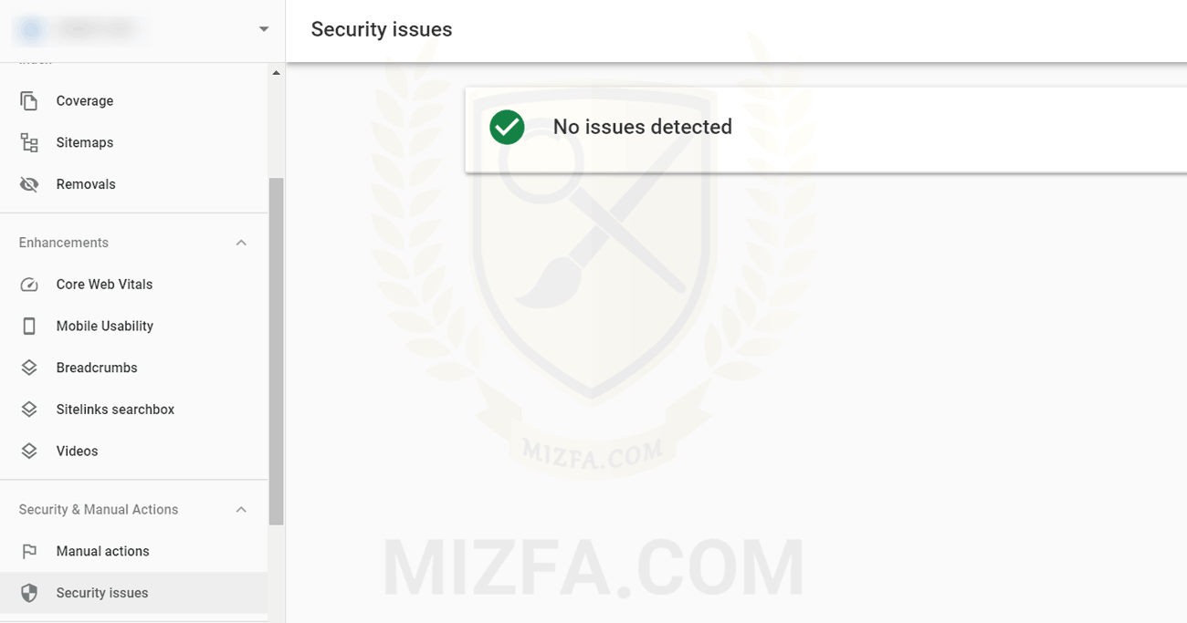 گزارش security issues سرچ کنسول در صورت نبود مشکل امنیتی