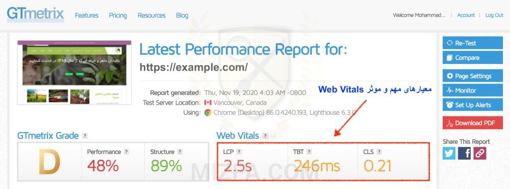 گزارش Web Vitals آپدیت GTmetrix