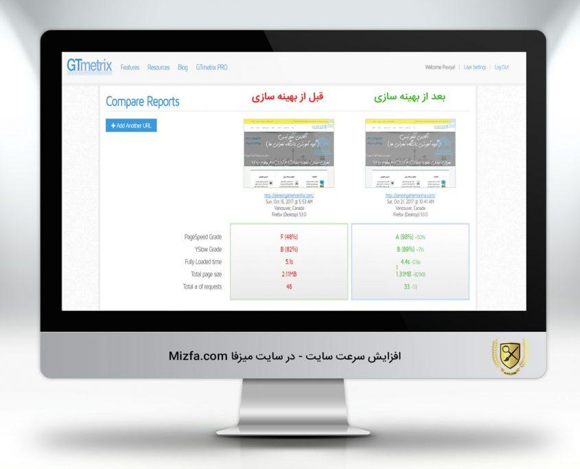 نمونه کار بهینه سازی سرعت سایت وردپرس